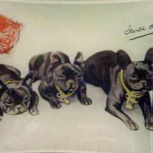 "6"" decoupage plate featuring three Boston Terriers"