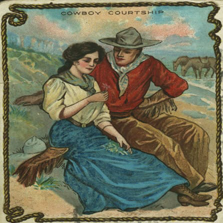 "6"" decoupage plate featuring a courting cowgirl and cowboy"