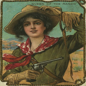 "6"" decoupage plate featuring a gun holding cowgirl as the Queen of the Ranch"