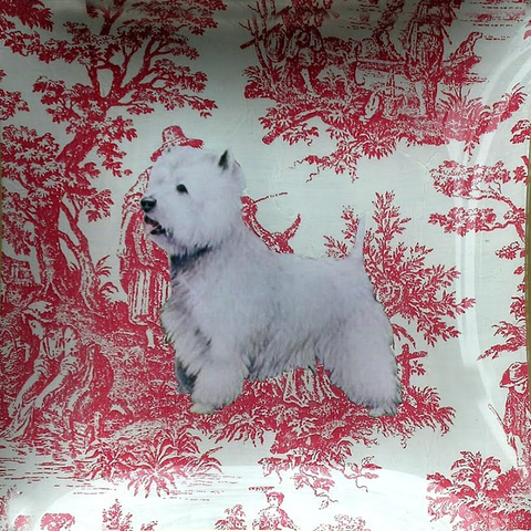 "6"" decoupage plate featuring a Westie Hand cut on toile"