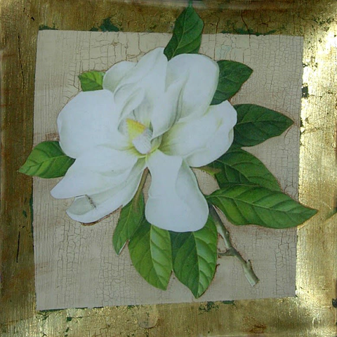 "8"" decoupage plate featuring a hand cut Magnolia flower with crackle background and gold leaf border"
