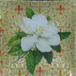 "8"" decoupage plate featuring a hand cut Magnolia flower on Italian paper"