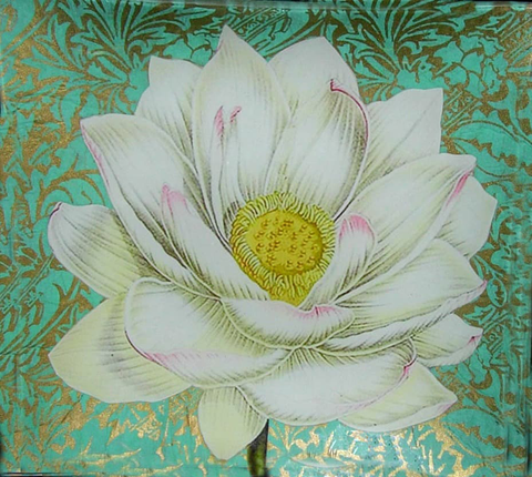 "8"" decoupage plate featuring a hand cut Lotus flower on handmade paper"