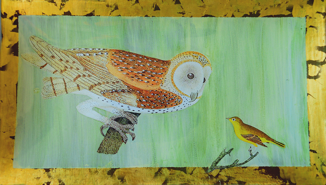"8"" x 14"" decoupage platter featuring an owl adn canary with gold leaf border and antique crackle finish"