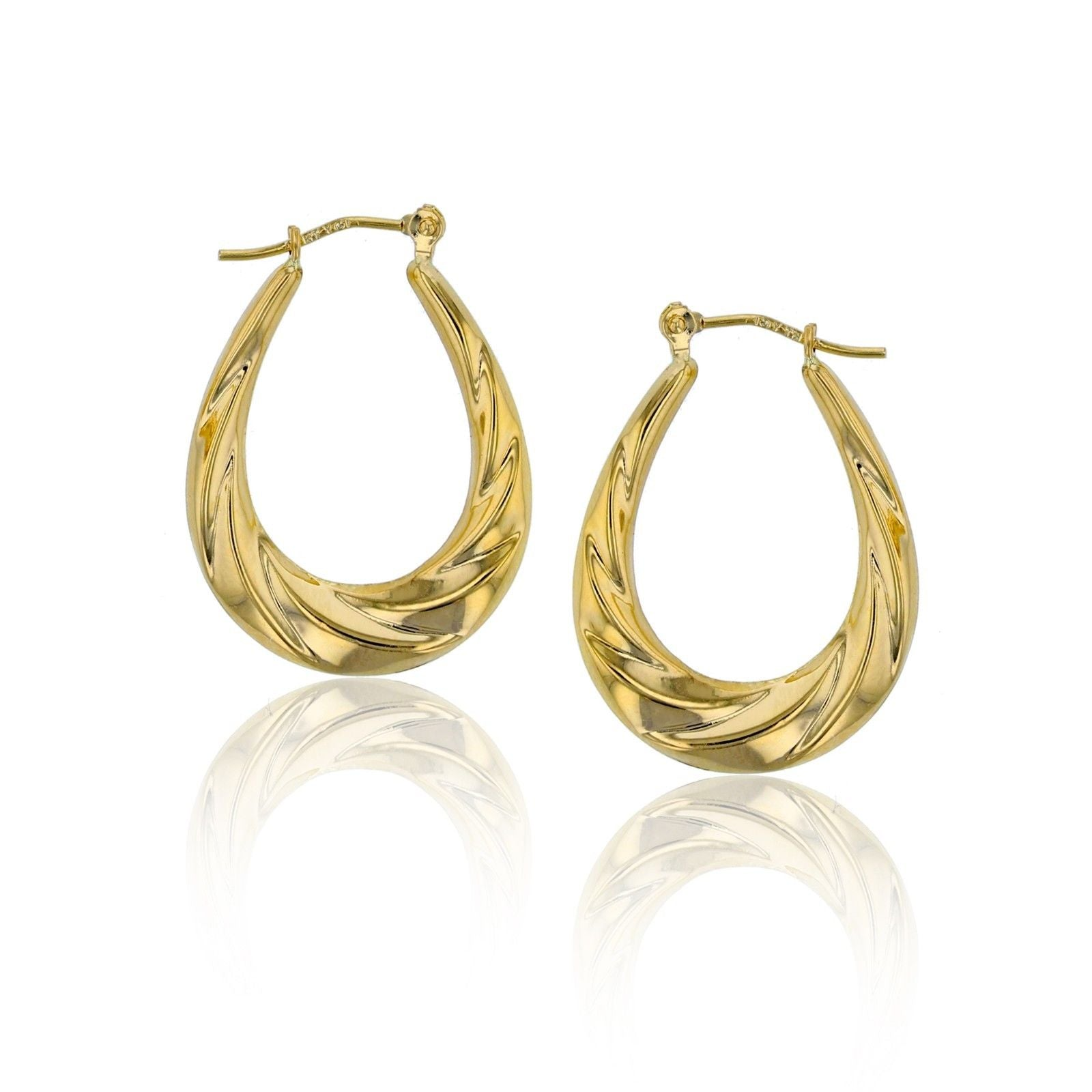 Real 14kt Yellow Gold Gold Polished Twisted Oval Hoop Earrings