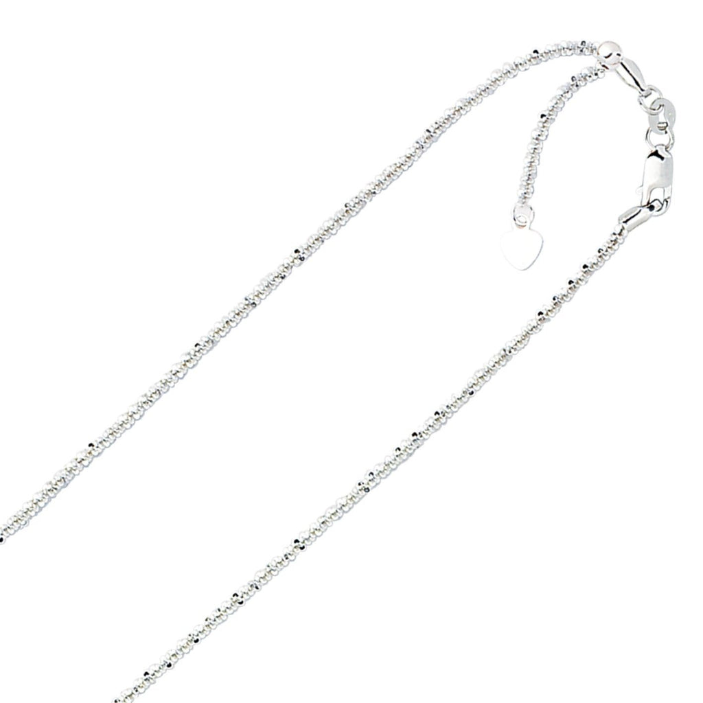 7d363d5ec62a82 1.5mm Solid Adjustable Sparkle Twisted Rock Chain REAL 10K White Gold Up To  22