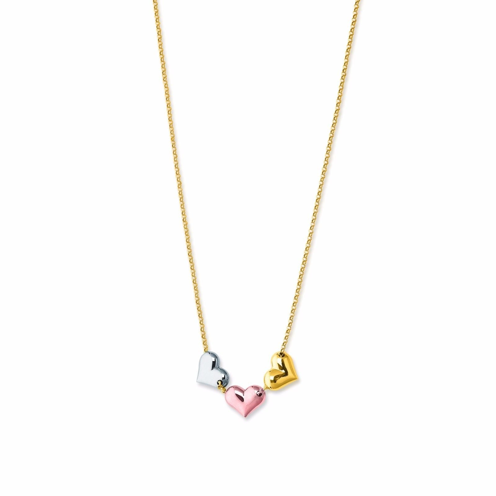 Solid 14K Tri-Color Gold Round Heart Charm Love Pendant Necklace