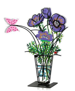 Flower Vase with Butterfly Large Purple