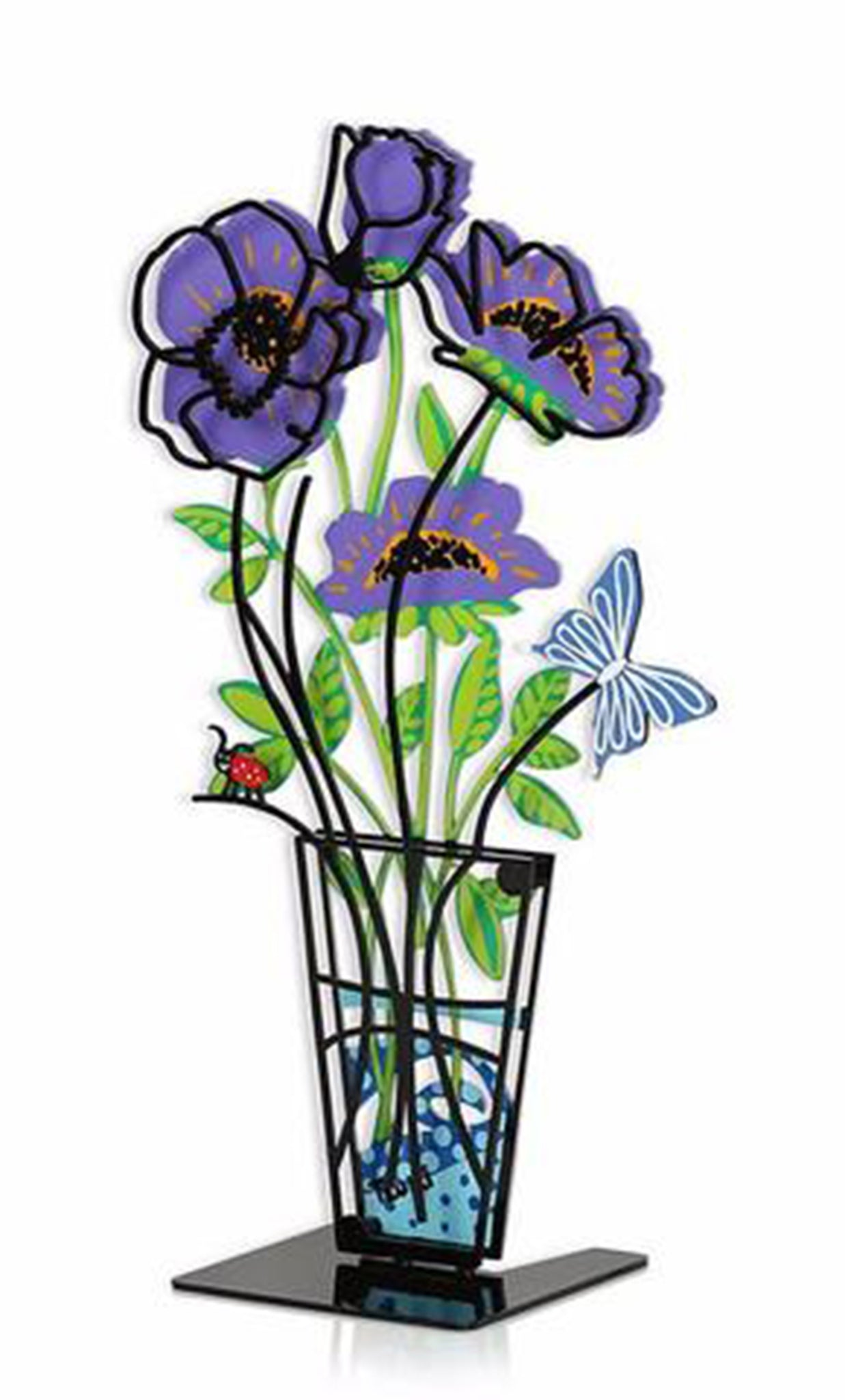 Flower Vase with Butterfly Small Purple