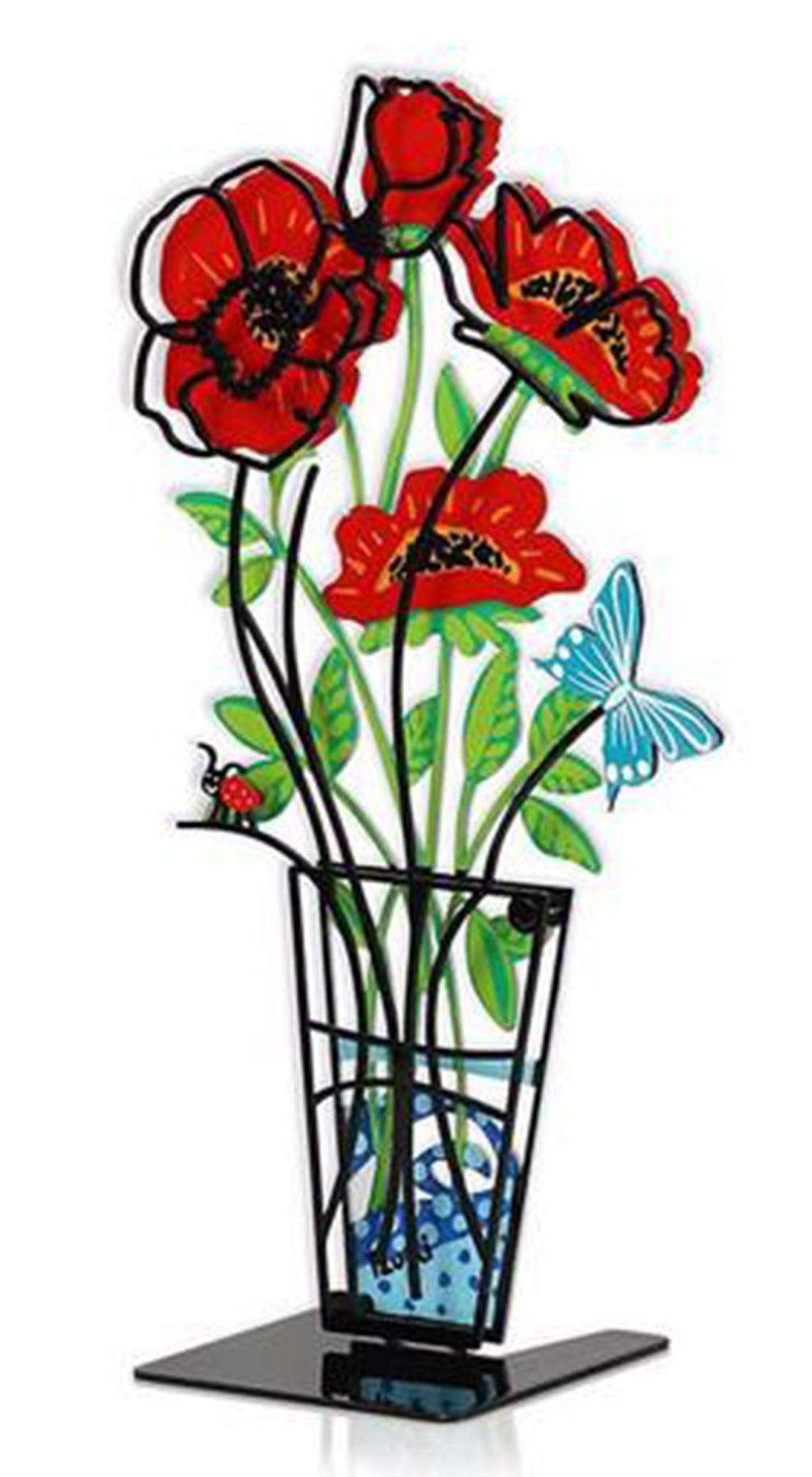 Flower Vase with Butterfly Small Red