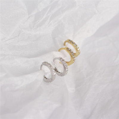 Mini Pave Huggie Earrings