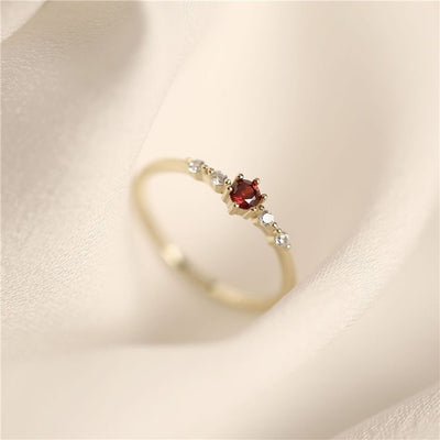 Gold Vermeil Red Solitaire Ring
