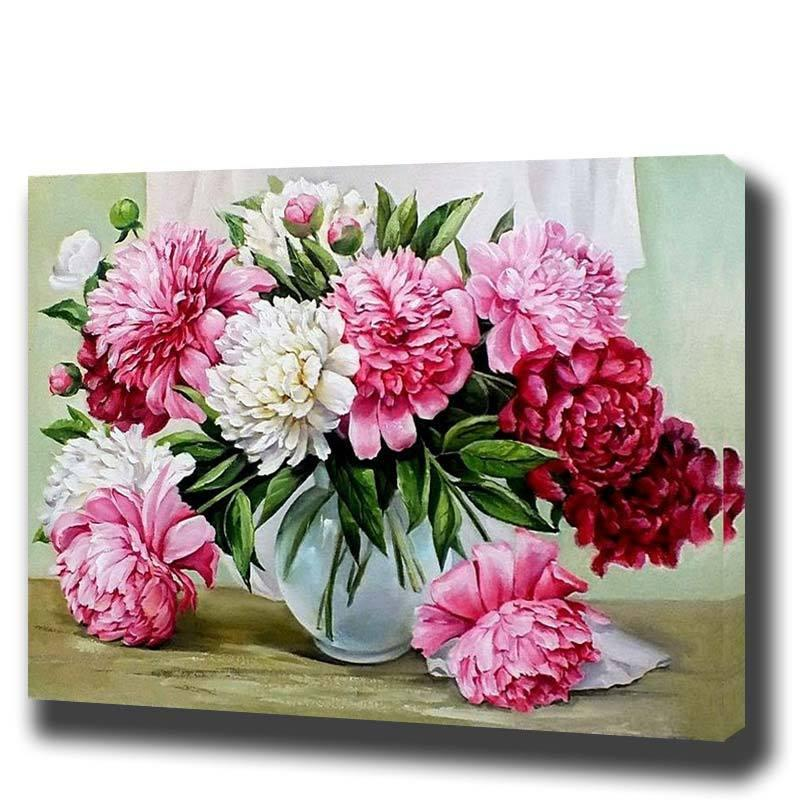 Flowers Framed Oil Painting By Numbers – Green Religion