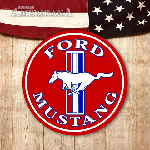 Plaque Métal 30Cm Ford Mustang Red