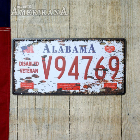 Plaque Métal 30X15 License Alabama