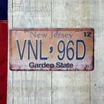 Plaque Métal 30X15 License New Jersey