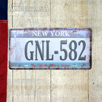 Plaque Métal 30X15 License New York