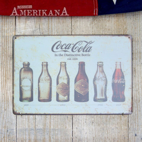 Plaque Métal 30X20 Coca-Cola Bottle Evolution