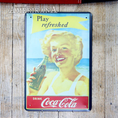 Plaque Métal 30X20 Coca-Cola Play Refreshed
