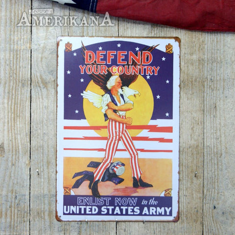 Plaque Métal 30X20 Defend Your Country