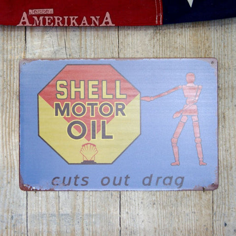 Plaque Métal 30X20 Shell Motor Oil Blue