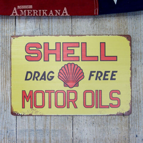 Plaque Métal 30X20 Shell Motor Oils Drag Free