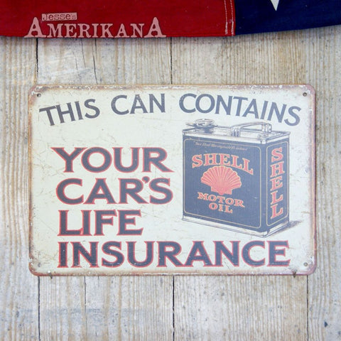 Plaque Métal 30X20 Shell Oil Insurance