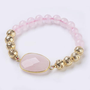 Ari Genuine Rose Quartz & Lava Gemstone Bracelet