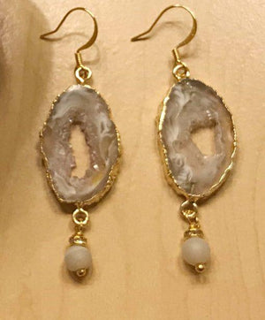 Evie Druzy Agate Earrings in Gold