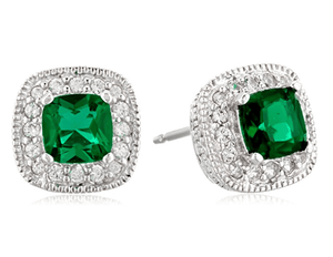 Princess cut Stud Earrings in Sterling silver -Emerald CZ