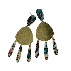 Della Acrylic Brass Earrings