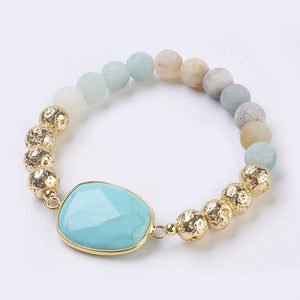 Ari Genuine Amazonite & Lava Gemstone Bracelet
