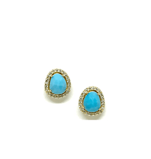 Baby Turquoise Studs in Gold