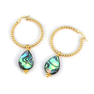 Abalone Hoop Earrings in Gold and Sterling Silver