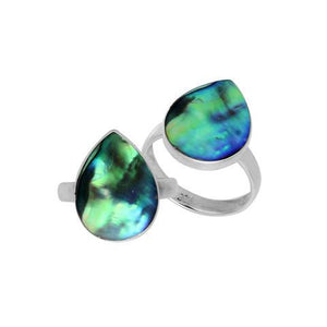 Pear Shape Ring with Abalone Shell in Sterling Silver