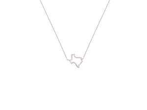 Texas Map CZ Sterling Silver Necklace