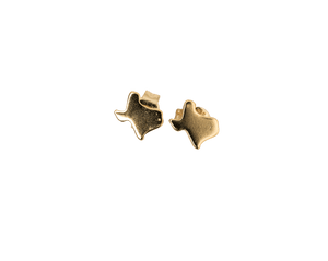 Tiny Texas Map Stud Earrings in Gold