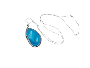 Heidi Genuine Blue Agate Necklace in Silver