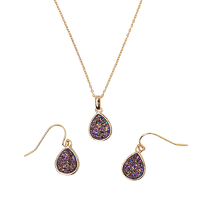 Emma Teardrop 2 pc Set Pendant and Earrings in Gold