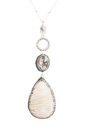 Abalone & Coral Necklace in Silver