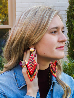 Anitha Beaded Earrings in Red