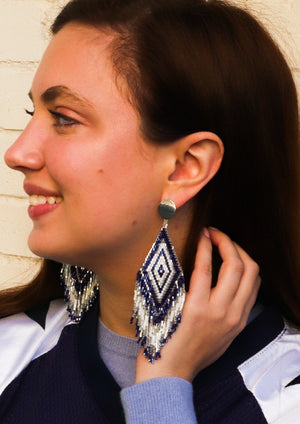 Anitha Beaded Earrings in Cowboy Blue