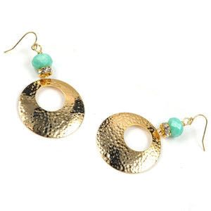 Leah Amazonite Hoop Earrings in Gold