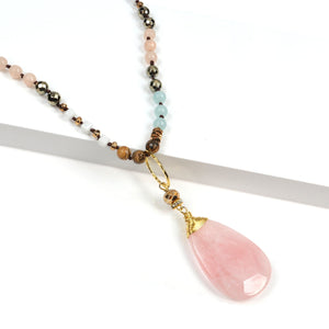Rose Quartz 5 Way Druzy Beaded Necklace