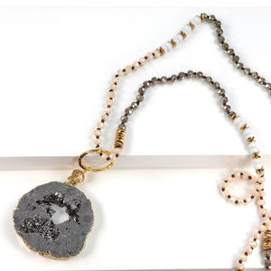 5 Way Druzy Beaded Necklace in Grey
