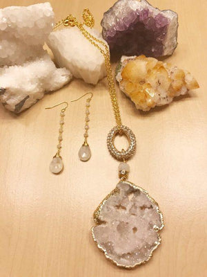 Druzy & Crystal Adjustable Necklace
