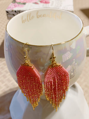 Amber Beaded Tassel Earrings