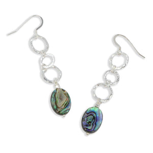 Paua Abalone Earrings with Hammered Circles