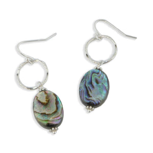 Paua Abalone Drop Earrings in Sterling Silver