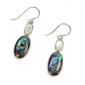 Abalone Shell and Pearl Earrings Sterling Silver